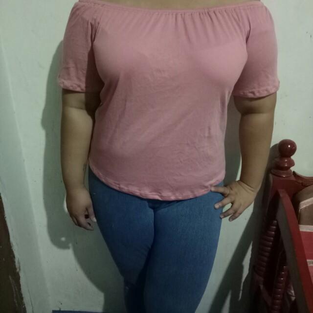 Pink Cotton Off Shoulder