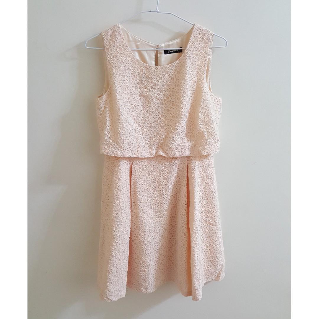 【全新】Ps company 杏色氣質蕾絲小洋裝