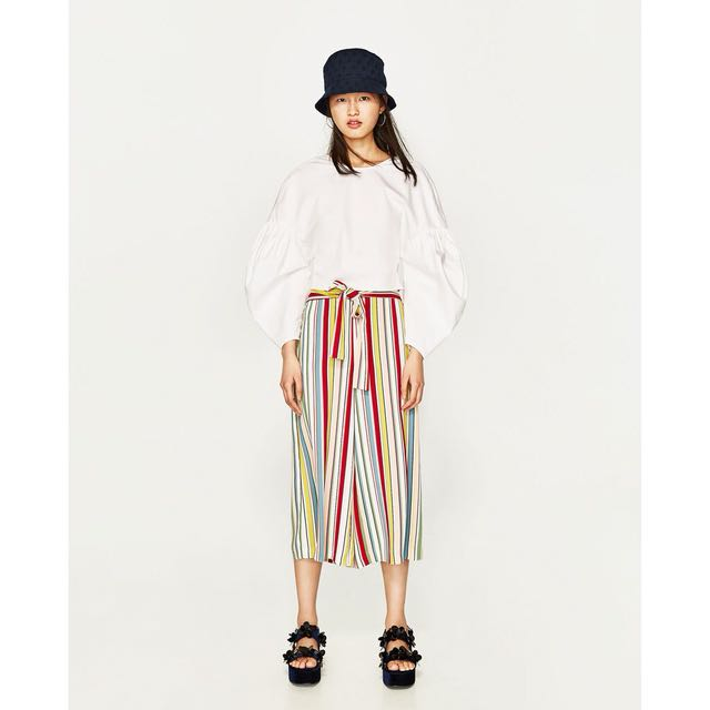 Ready Stock Zara Inspired Striped Culottes