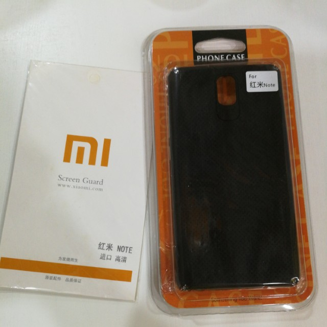 Red Mi Note casing and screen protector