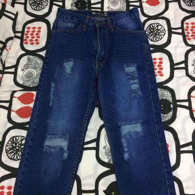 Ripped Boyfriend Jeans Fringe