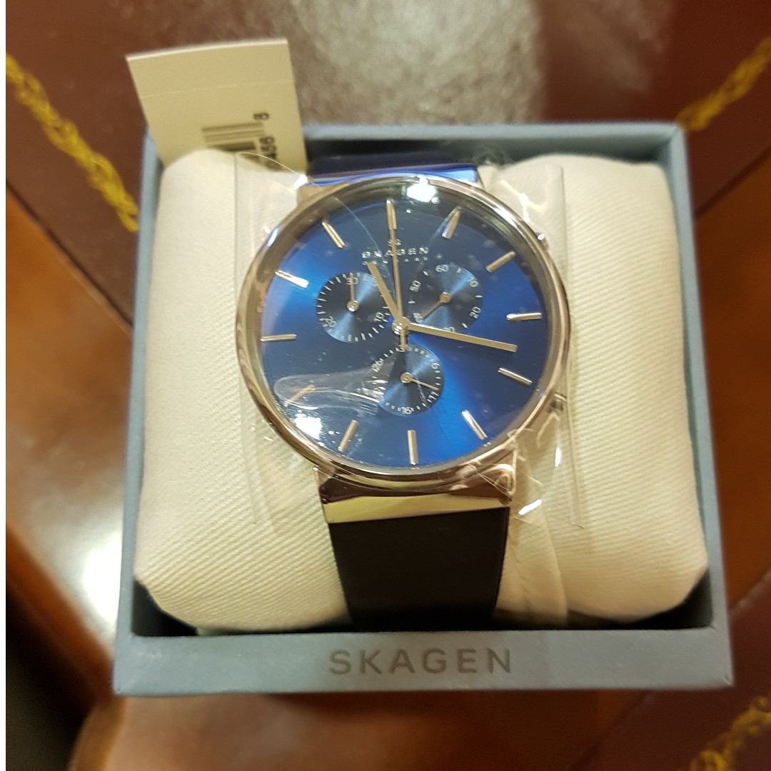 fb876c51c Skagen Ancher Leather Chronograph Watch SKW6105, Men's Fashion, Watches on  Carousell