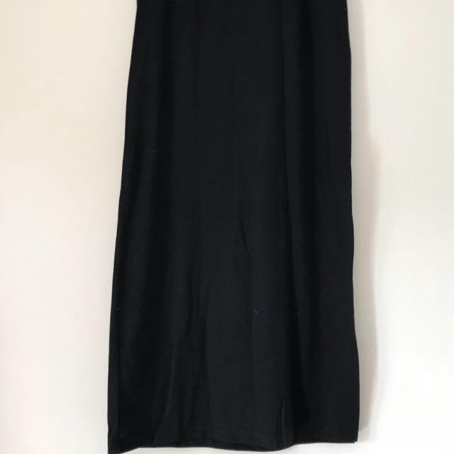 Stradivarius Black Maxi Skirt with Slit