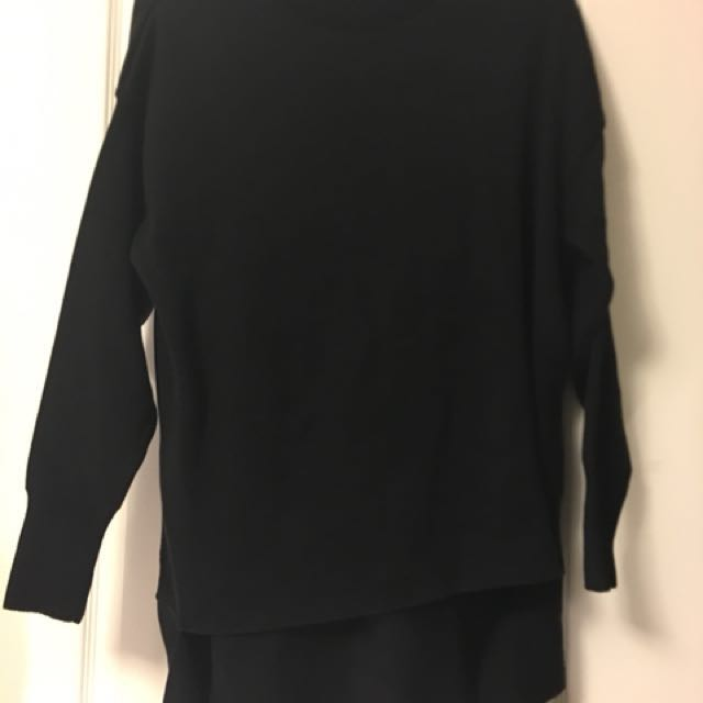 Topshop Black High Low Sweater size S/US 4/UK8
