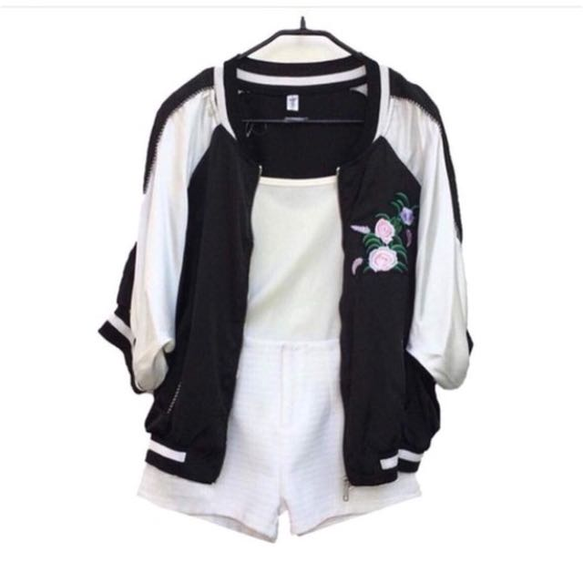 Two tone patch jacket