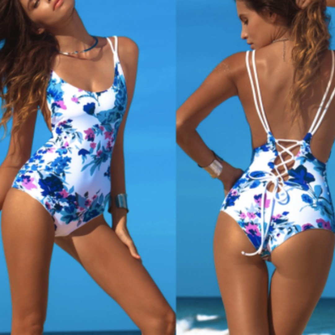White floral one-piece swimsuit