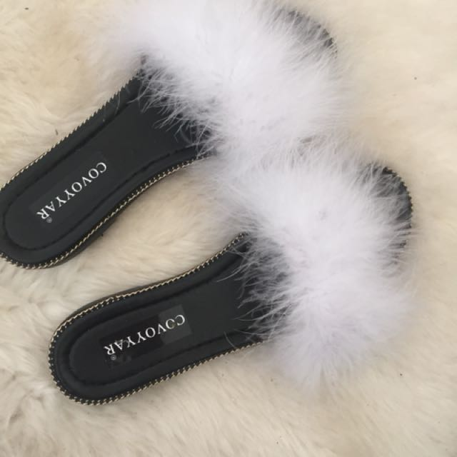Women's Fur Chained Slip on Sandals