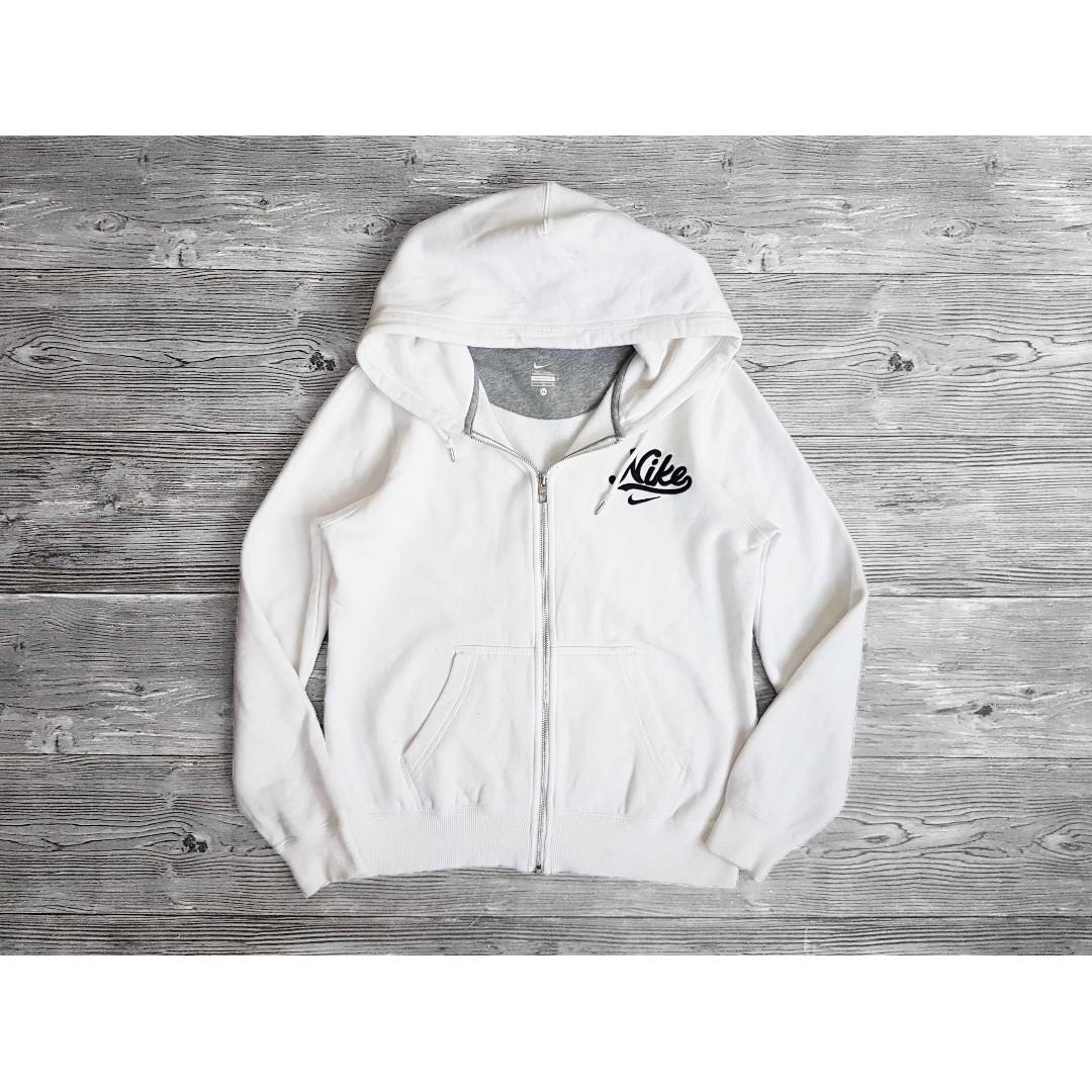 女XL Nike 白色 Logo 內刷毛 休閒 連帽T 連帽外套 夾克 二手