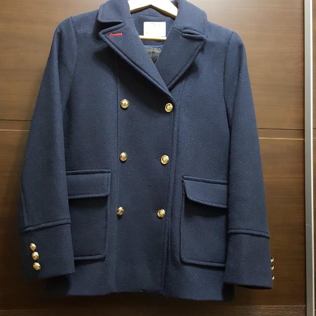 Zara 海軍藍雙排扣羊毛外套