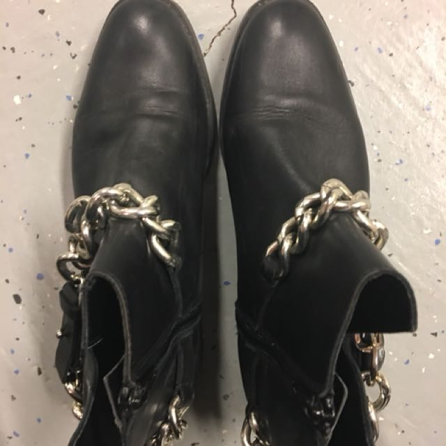 Zara Leather Chain Boots size 5.5-6