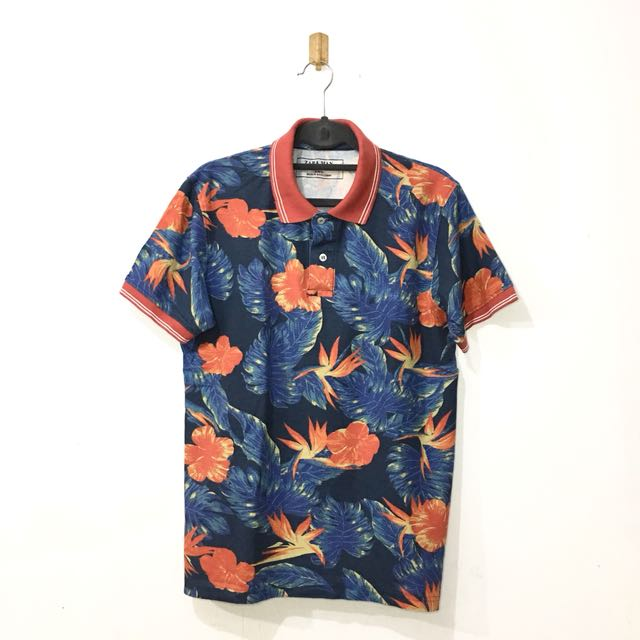 1bd35cb3 Zara Man Vintage Tropical Print Polo Shirt on Carousell