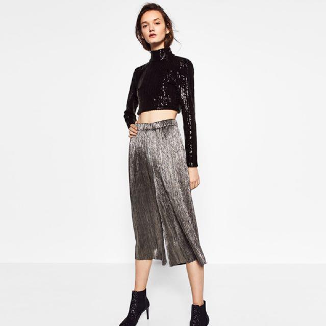 Zara metallic pleated culottes