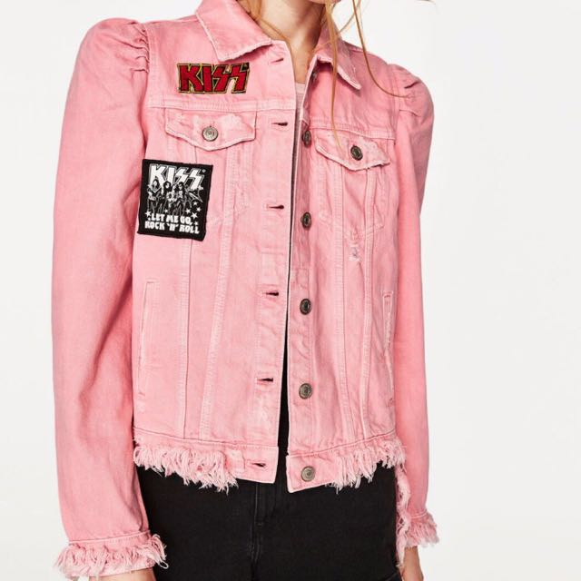 Zara pink denim KISS jacket