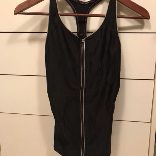 Zip up workout tank top