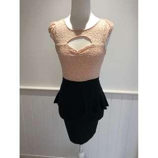 Caroline Morgan Dress - Peach and Black, Cocktail Dress