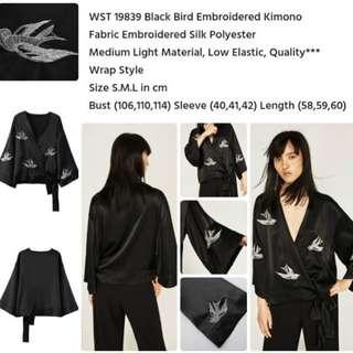 Black Bird Embroidered Kimono