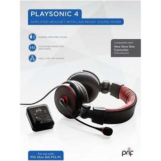 Playsonic 4 Amplified Headset W Mixer (PS4/PS3/Xboxone/PC)