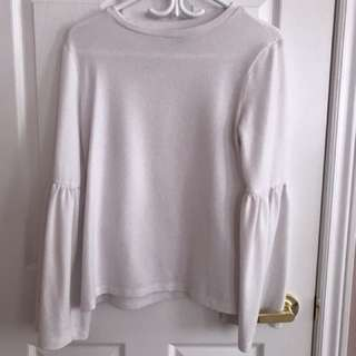 White pullover sweater with bell sleeves