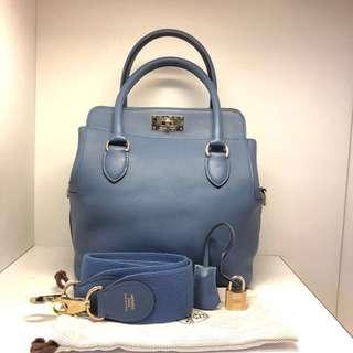 正品 95%新 Hermes Toolbox 20 R2 瑪瑙藍手挽上膊袋 明星同款!