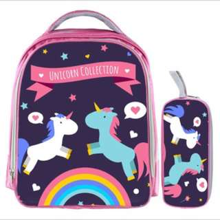 PO kids Primary School bag ht 33cm-$25 ht 42cm-$28 unicorn design brand new