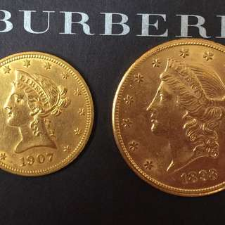 USA gold liberty 1893s $20 coin + 1907 $10 coin