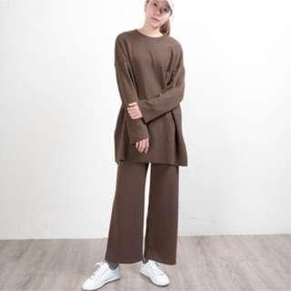 休閒圓領寬袖➕寬褲套裝 針織套裝