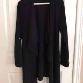 Black knee length duster jacket