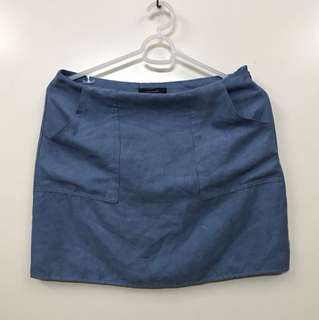 Suede Denim Blue Skirt