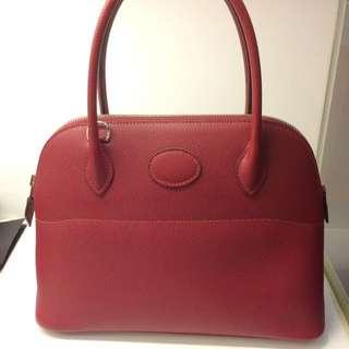 正品 全新 Hermes Bolide 27 K1 石榴紅Epsom 手挽側揹袋