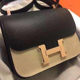 正品 全新 Hermes Constance 24 黑玫瑰金上膊袋