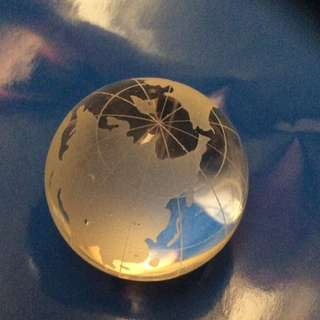 Crystal globe ball map. 1.6 inches
