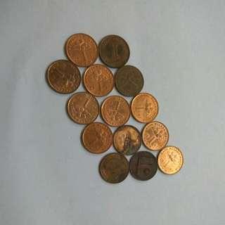Malaysia 1 cent coins 14pcs