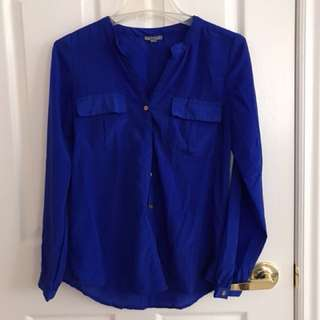 Royal blue button down sleeve top size m