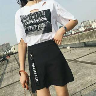 Black A Line Skirt let's hve fun