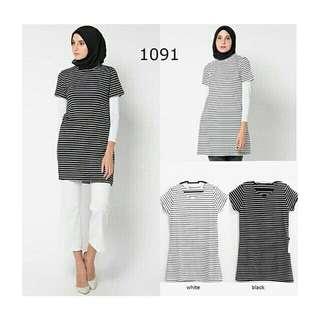 Shirt dress stripe tee