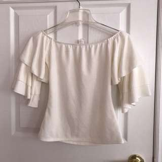 Off shoulder off white top size small
