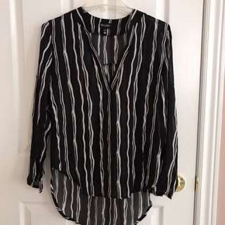 Black striped long short top size m