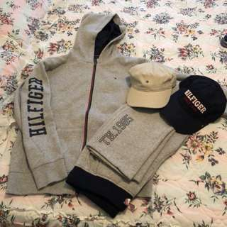 Tommy Hilfiger Boys XL (18-20) Track Suit + 2 Hats