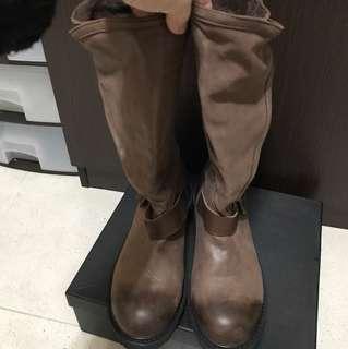 啡色皮boot