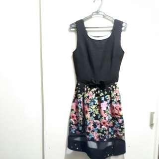 Black floral Dress w/ Ribbon