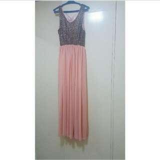 Long Peach Prom Dress