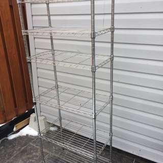 Chrome shelving unit