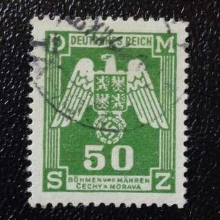 [lapyip1230] 捷克(德國佔領) 1942年 政府公文郵票 (帶納粹黨黨徽的佔領地徽紋) VFU