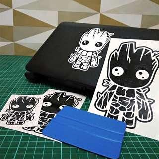 Baby Groot vinyl sticker for laptop, car