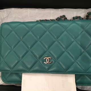 [最後減價🈹]正品 全新 Chanel WOC wallet on chain classic Bag 羊皮 銀鍊 袋