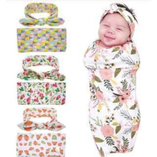 Baby Hairband Swaddling Blanket Soft Muslin Newborn