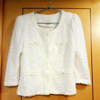 New chanel style Korean 春裝全新外套white spring jacket with slightly elastic material