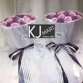 52朵香皂花玫瑰花束 - 藕粉紅+深紫玫瑰  情人節花束 畢業花 玫瑰花