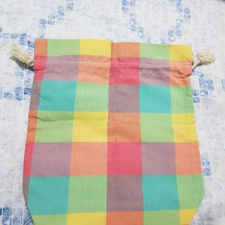 Colourful drawstring pouch