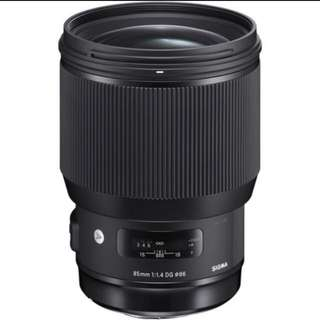 Sigma 85mm f1.4 art lens